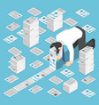 isometric a lot document come out from vector image vector image