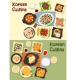 Korean cuisine traditional lunch icon set vector image vector image