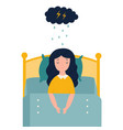 lonely sad girl in sorrowful mood lying in bad vector image