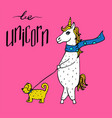 lovely hand-drawn unicorn-girl in a scarf walking vector image vector image