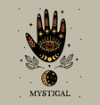 mystical poster with black hand moon eye vector image