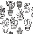outline seamless cactus pattern plant fabric vector image