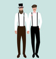 queer wedding gay groom couple newlyweds elegant vector image vector image