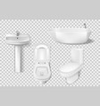 realistic bathroom collection template white vector image