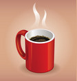 Red coffee cup on brown background