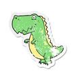 retro distressed sticker of a cartoon dinosaur vector image vector image