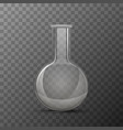 round transparent flask for chemicals experiments vector image vector image