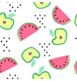 seamless pattern with doodle style summer fruits vector image