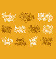 set with lettering for thanksgiving day season of vector image vector image