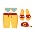 slippers shorts sun glasses and cap in red and vector image vector image