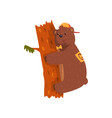 smiling wild bear hugging tree trunk cartoon vector image vector image