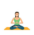 smiling woman sits lotus position involved sport vector image vector image