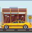 taxi flat poster - taxi car on taxi stop vector image