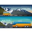 travel banners set Bus tour to Alps vector image vector image
