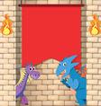 Two dragons behind the brick wall vector image