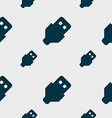 USB icon sign Seamless pattern with geometric vector image vector image