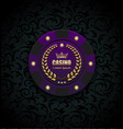 vip poker luxury purple chip casino logo vector image