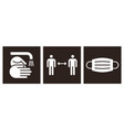 wash hands social distance and protective mask vector image