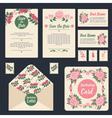 Wedding Invitation Stationary Set Floral Decor vector image