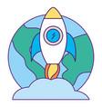 world rocket startup launching success vector image