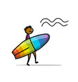 boy with surfboard sketch for your design vector image