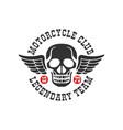 motorcycle club logo legendary team 1979 design vector image