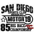 athletic sport america san diego typography vector image vector image
