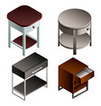 bedside table icon set isometric style vector image vector image