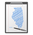 clipboard illinois map vector image vector image