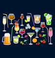 cocktails on black background for web and print vector image vector image