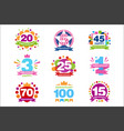 colorful anniversary birthdays festive signs set vector image vector image