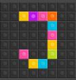 colorful brick block letter j flat design vector image