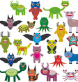 Cute cartoon Monsters Set Big collection on white vector image vector image