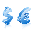 dollar euro signs vector image vector image