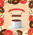 donuts with cup coffee on beige vector image vector image