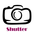 Doodle sketch camera with the word Shutter vector image vector image