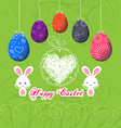 easter eggs doodle greeting card vector image vector image