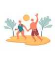 elderly couple on beach enjoying retirement vector image vector image