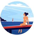 enjoy summer round banner vector image vector image