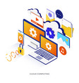 flat color modern isometric - cloud computing vector image vector image