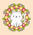 floral wreawith leaves and cute cat charactor vector image