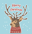 hand drawn holiday card in sweater merry cristmas vector image vector image