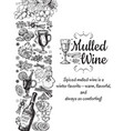 hand drawn mulled wine poster black vector image vector image