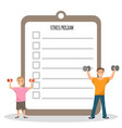 happy father and son workout doing fitness program vector image