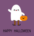 happy halloween child kid wearing ghost spirit vector image