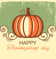 happy thanksgiving background with pumpkin and vector image