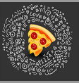 icon of pizza with sausage of vector image vector image
