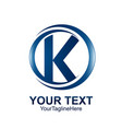 initial letter k logo template colored blue vector image vector image