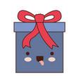 kawaii gift box icon with decorative ribbon in vector image vector image