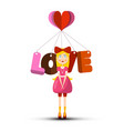 love symbol with girl and heart isolated on white vector image vector image
